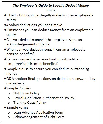 The Employer'S Guide To Legally Deduct Money From Negligent