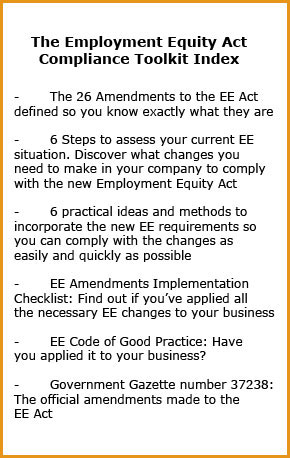 Employment Equity Act Compliance Toolkit Index