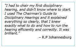 The Chairman's Guide to Disciplinary Hearings testimonial